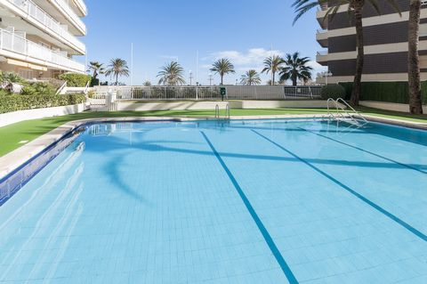 Welcome to this lovely apartment for 6 guests in the first line in Playa de Gandia with a community pool and a tennis court. The community outdoor areas of this apartment offer a chlorinated 19x10m-sized pool (1,10-1,90m deep), surrounded by a lawn, ...
