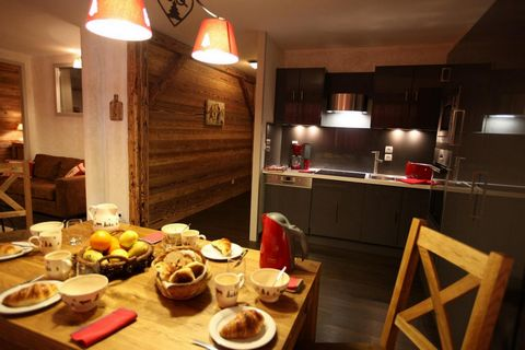 The Chalets d'Adrien was built in 2011. This residence is located in the entrance of Valloire, 200 m away from Cret de la Brive cable car and the ski school. Surface area : about 82 m². 1st floor. Orientation : South. Living room with bed-settee. 2 b...