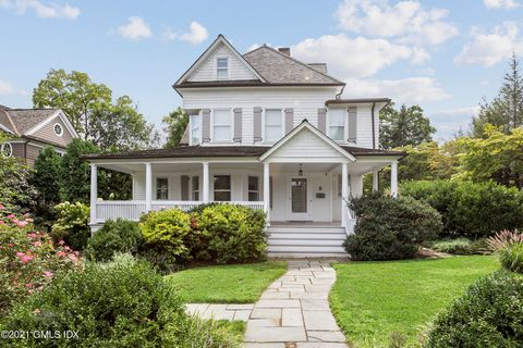 Wonderful front-porch Victorian close to the beach and downtown Old Greenwich. The 1st floor with high ceilings throughout was almost doubled in size adding an office, a library and kitchen with island open to the eating area and family room w/fp. A ...