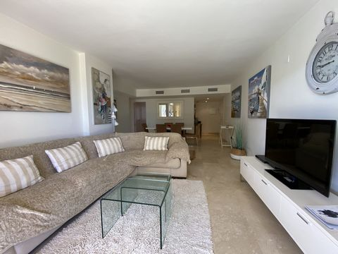 Beautiful apartment with all new modern furnishings, terrace with seating for 6 overlooking the gardens and to the sea and beach. Lounge with large patio doors to terrace, flat screen TV with English TV, dining table for 6 people, air conditioning. F...