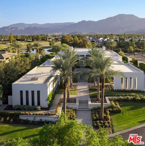 Stunning Southwest facing contemporary at the exclusive Madison Club. Enter thru the courtyard to a dramatic cascading water feature into a long pool and fire features leading to the all glass front with dramatic views of the mountains and world clas...