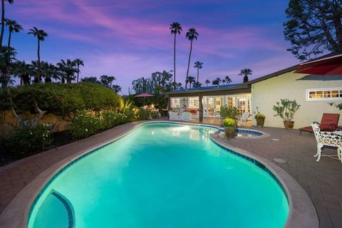 Situated on corner lot, impeccably maintained single-story home in desirable south Palm Springs. Leased solar system = low energy bills. Private backyard, covered patio, ceiling fans, large sparkling pool and spa with unobstructed west facing views o...