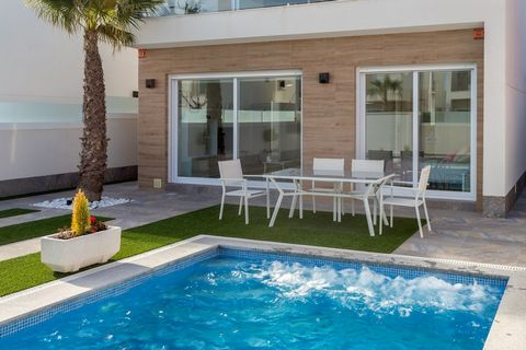 Description Semi-detached house with a modern and avant-garde design. Three bedrooms, two full bathrooms, garden and private pool ...~ It is located in the municipality of San Pedro del Pinatar, very close to the center, located a few meters from its...