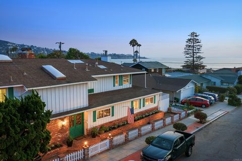 In a wonderful location on a large corner lot west of La Jolla Shores Dr, this sun-filled, eclectic 2-story home with some ocean views exudes a happy pride of ownership that's ready for its next chapter. Never before on the market, with 3 bedrooms pl...