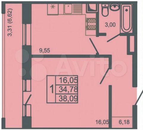Номер объект № 38906 1 ком. кв. 41,4 кв.м., 3/3 эт. в ЖК